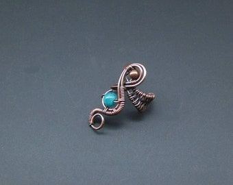 Apatite Ear Cuff, Wire Wrapped Jewellery, Woven Ear Cuff, Handmade Jewellery, Clip On Earrings, Gemstone Jewellery, Copper Jewellery