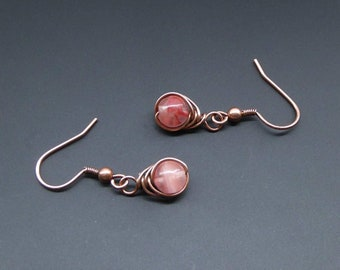 Cherry Quartz Earrings, Copper Earrings, Wire Wrapped Jewelry, Wire Jewellery, Gemstone Jewellery, Copper Jewellery, Handmade Jewellery
