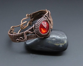Crystal Bracelet, Wire Jewellery, Handmade, Wire Wrapped Jewellery, Woven Copper Cuff, Copper Bracelet, Wire Wrapped