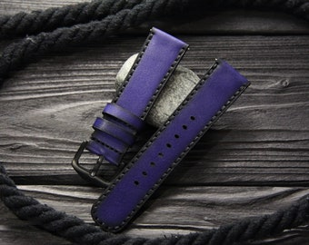 """Blue Leather Watch strap """"Armored"""", 18mm, 20mm, 22mm, 24mm, Leather watch band, watch strap, Apple watch leather band, leather watch strap"""