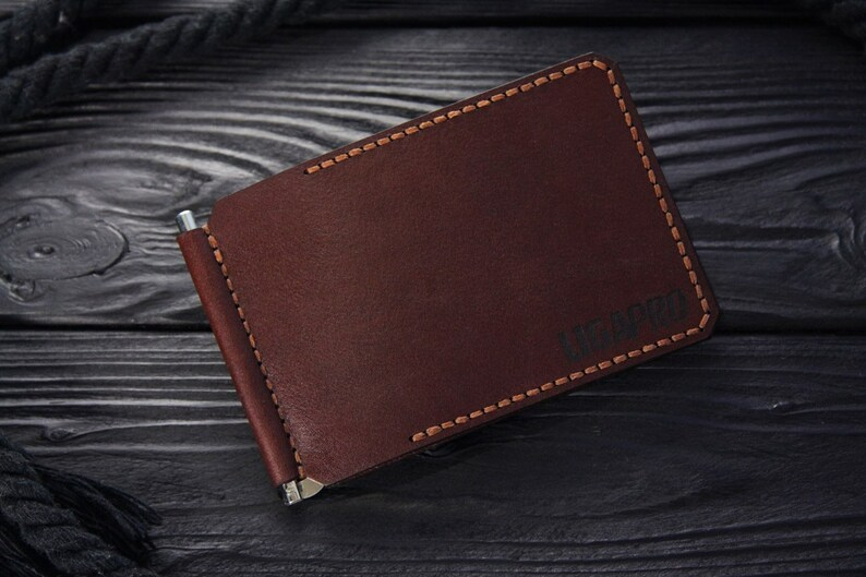 Leather money clip minimalist wallet business card holder  4a2e27f367774