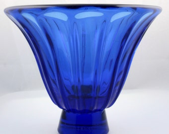 DAUM ART DECO blue glass vase