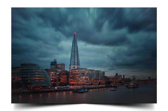 Sunset Over the Shard in London England City Art Poster Prints On Gloss Paper