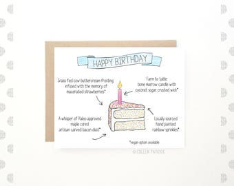 Funny Food Birthday Card ~ Cute Card - Foodie Card - Sarcastic Card - Vegan Card - Paleo Birthday - Funny Card - Recycled Paper