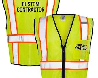 Custom Kamal Ohava Personalized Zip Up Reflective Safety Vest