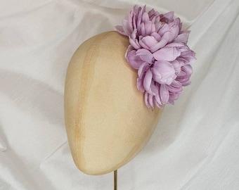 Lilac hair flower clip/lilac dahlia hair flower/everyday hair flower/lilac corsage/lilac dahlia corsage/Pin Up Curl/wedding accessory