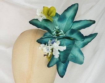 Tropical hair flower clip/Pin Up Curl/green hair flower/pin up hair flower/large hair flower/lily hair flower/tiki hair flower