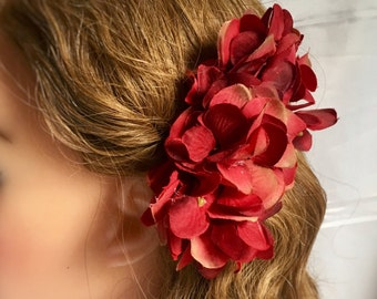 Red hair flower clip - red Hydrangea hair flower clip - soft tonal reds - pin up vintage 40s 50s style, handmade, gift for her