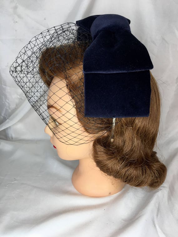 ee03cdb5 Navy hair bow fascinator cocktail hat The 'Bonnie | Etsy