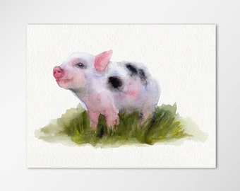 Pig painting, Pig art, Mini Pig Watercolor, Mini Pig print, Mini pig, Miniature pig, Teacup pig, pocket pig, micro pig, gift for pig lover