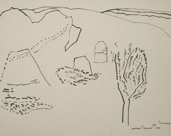 MAX PAPART, Original Black Ink Drawing, Simiane, Signed 1961, FREE Shipping