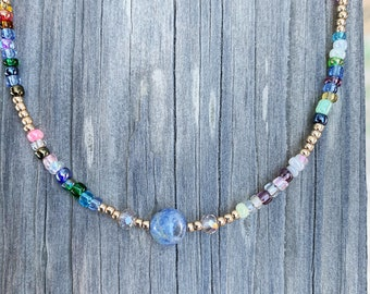 crystal necklace beaded choker anxiety necklace beaded necklace Sodalite amethyst and rose quartz beaded choker necklace