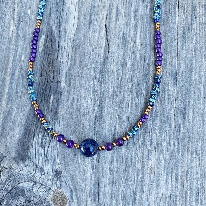 beaded choker throat chakra necklace crystal necklace amethyst beaded choker necklace Lapis lazuli beaded necklace