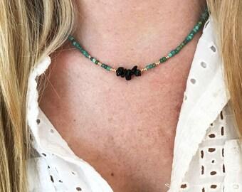 Black obsidian necklace black obsidian choker gemstone necklace gemstone choker dainty choker beaded necklace boho necklace gift for friend