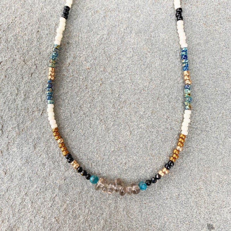 beaded choker Smoky quartz beaded choker necklace with blue apatite crystals colorful necklace seed bead necklace crystal necklace