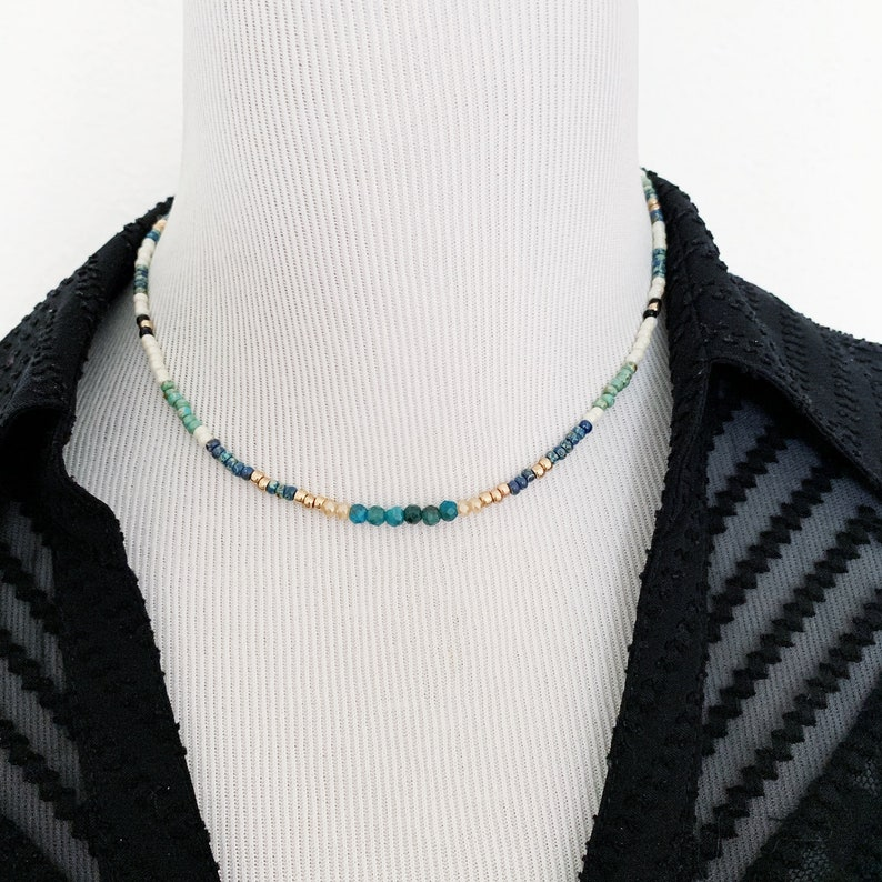 beaded choker layer necklace colorful necklace seed bead necklace Boho beaded choker necklace with blue apatite crystals