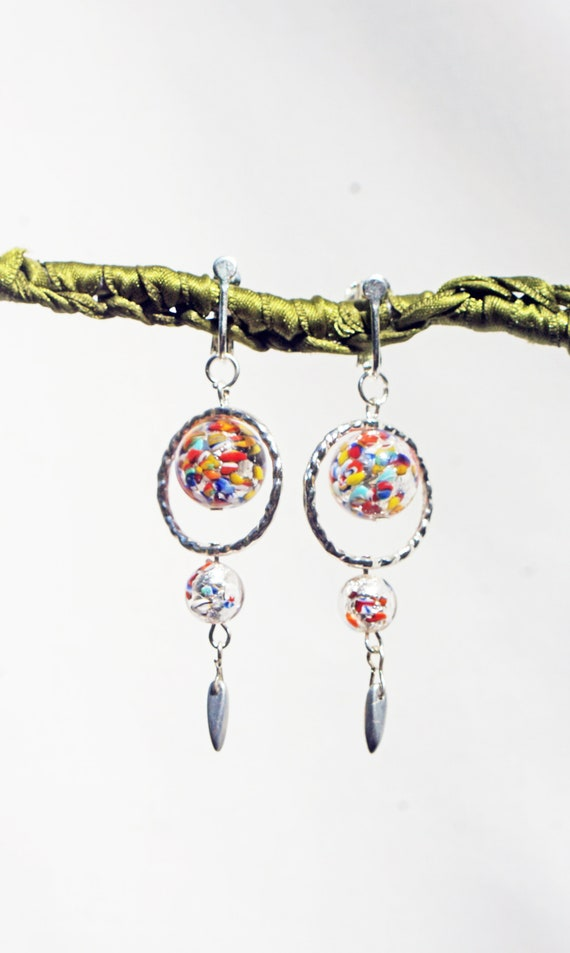CLIP on Earrings Long Round Venetian Bead 14mm Red Coral /& silver Clips Dangle Murano Glass French design Hand made Nickel free For her