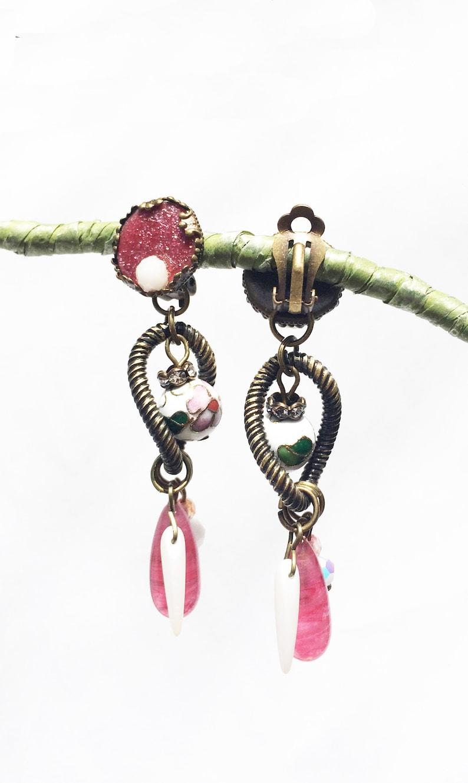 CLIP on earrings Pink white /& bronze Long earrings Crystal Cloisonn\u00e9 vintage Dangle earring French design Hand made Nickel free Gift for her