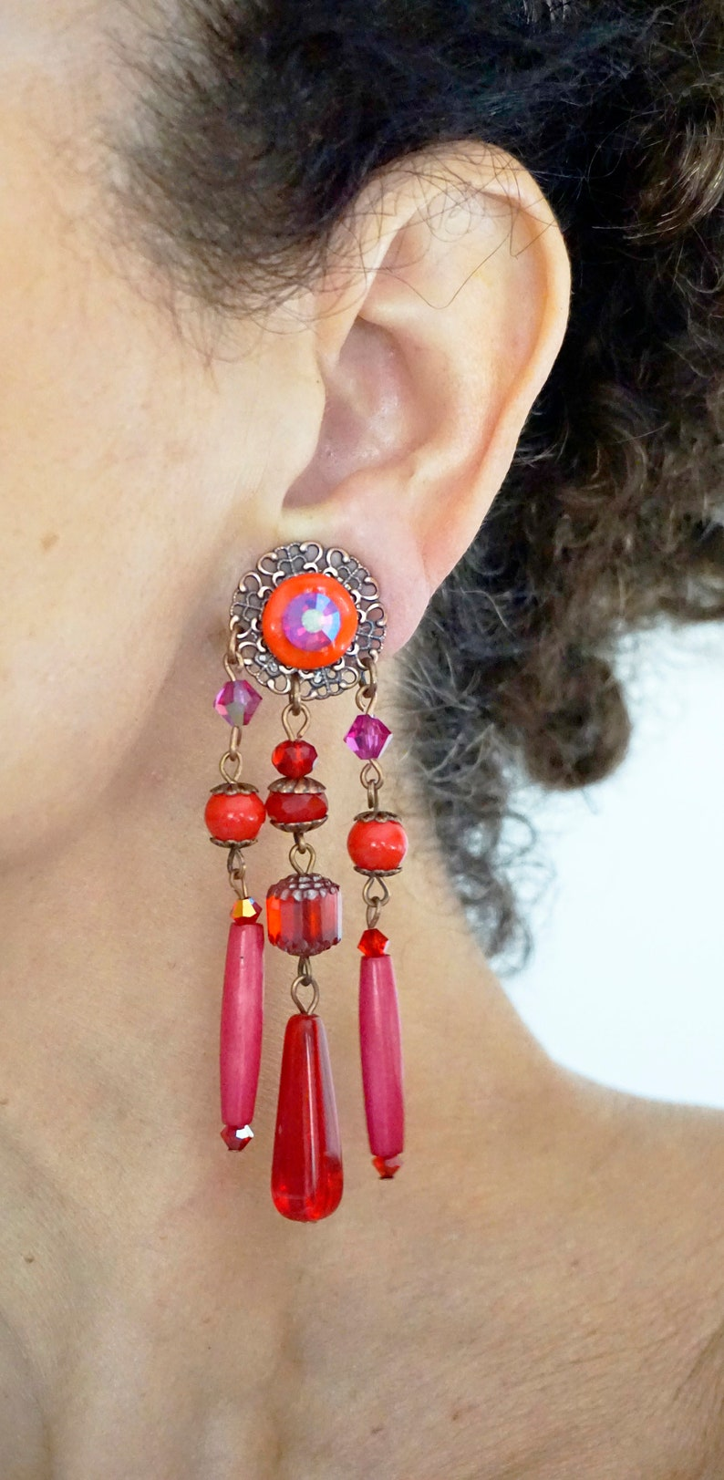 CLIPS on Earrings  Red-Pink Fuchsia /& Copper Clips earrings Dangle Chandelier Crystal Beads French design Hand made Nickel free Gift for her
