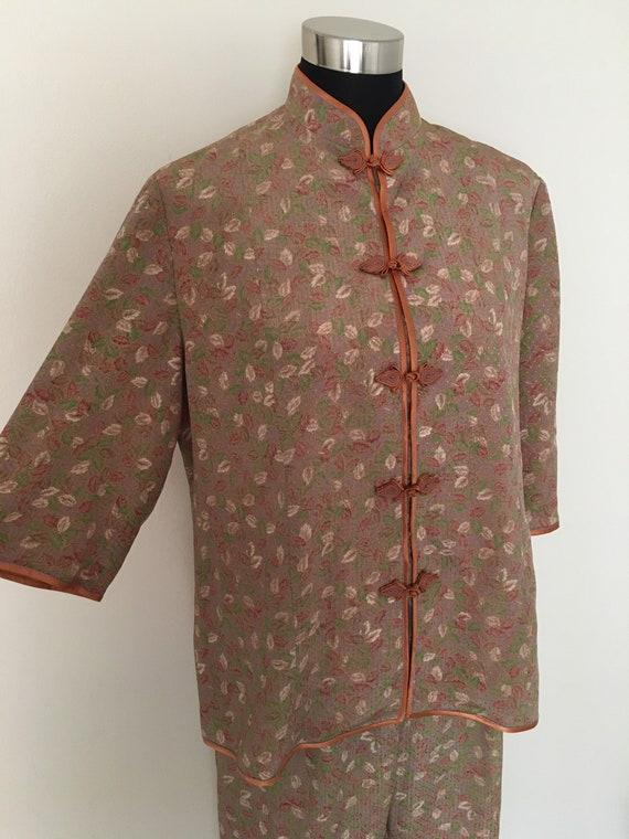 Vintage silk knot button pajama set - image 2