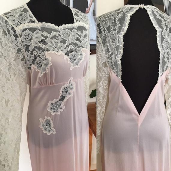 Vintage Henson Kickernick Cream Set Gown Robe S Lace Long Nylon USA Made