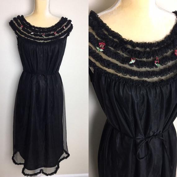 vintage penney's adonna chiffon ruffle nightgown