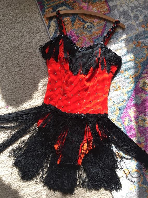 Vintage handmade rhinestone showgirl dance costume