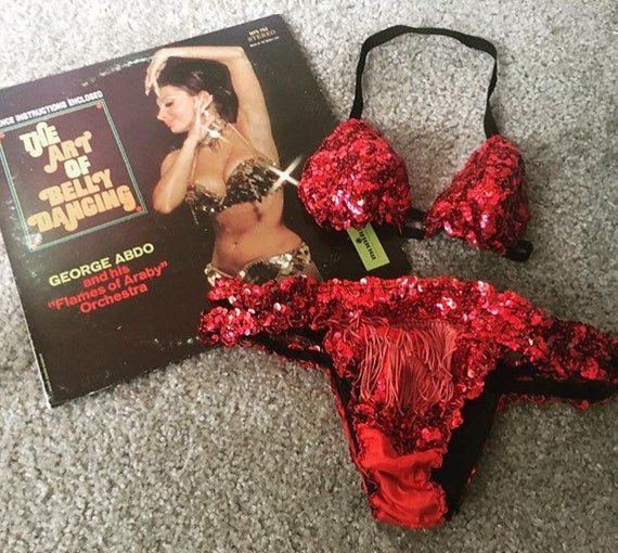 Vintage red sequin bikini showgirl costume