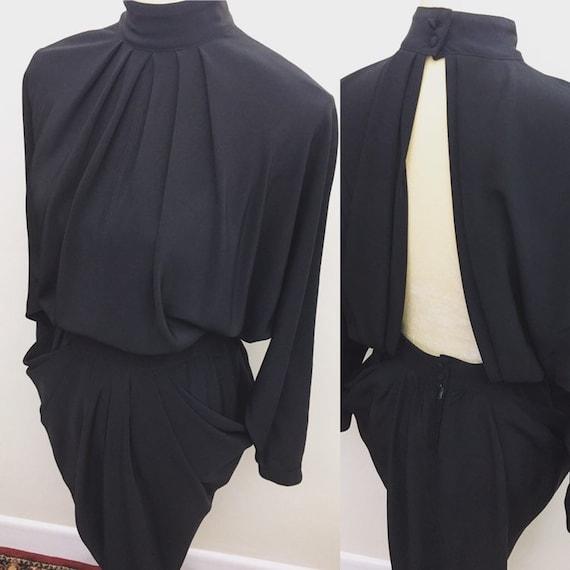 Vintage open back draped side dress