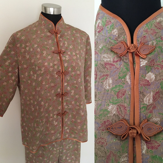 Vintage silk knot button pajama set
