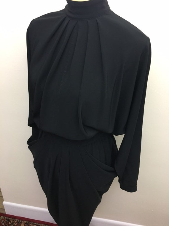 Vintage open back draped side dress - image 3