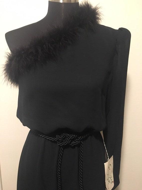 Vintage One shoulder feather trim dress