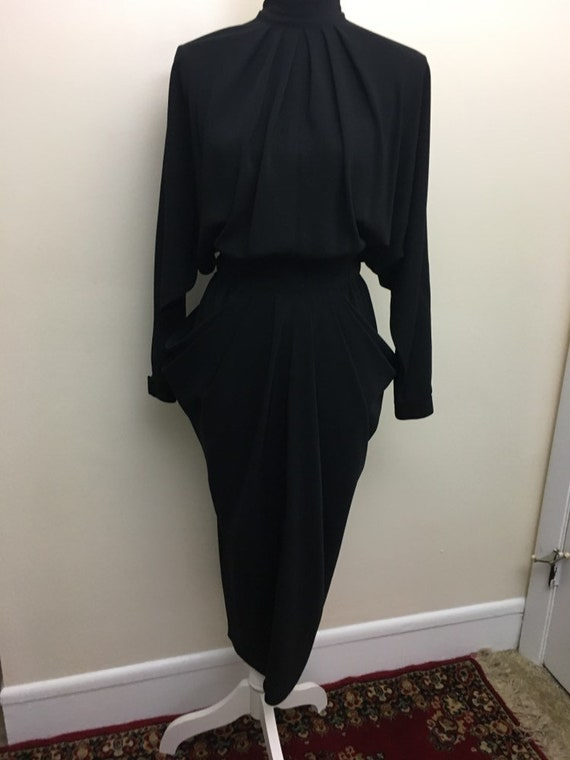 Vintage open back draped side dress - image 2