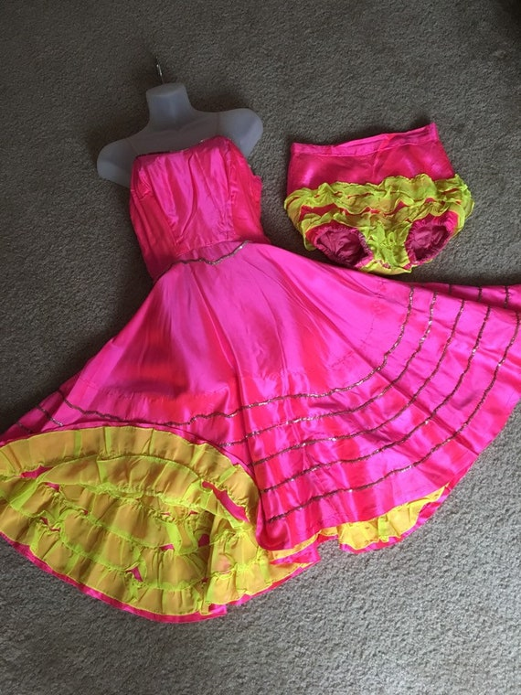 Vintage Can Can showgirl costume dress