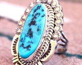 Native American Vintage Navajo Sterling Silver Turquoise Dinner Ring Signed