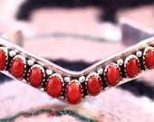 Native American, Navajo Handmade Vintage Coral Stacking Sterling Silver Bracelet, SIGNED
