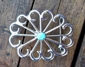 Rustic Vintage Navajo Sterling Silver Sand Cast Turquoise Belt Buckle