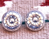 Navajo Vintage Sterling Silver Domed Concho Earrings