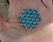 Native American Zuni Turquoise Brooch Pin Pendant