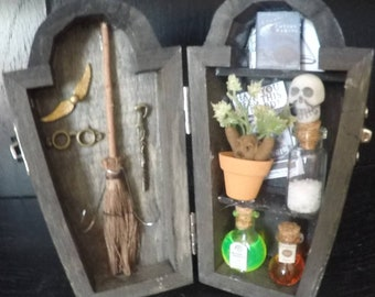 Harry Potter coffin shadow box, wizard, witch, magic, gift,  mandrake, wand, broom, polyjuice potion, skele gro, pumpkin juice, advanced