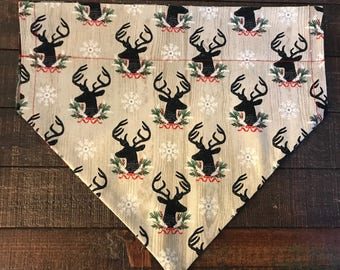 Festive Deer and Holiday Plaid Dog Bandana