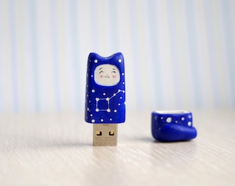 USB flash drive 8 Gb, 16 gb, kawaii blue cat, cat with constellation big dipper, back to school , cobalt cat usb flash