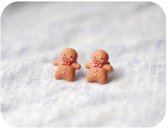 Polymer Clay Christmas Earrings.Christmas Earrings Gingerbread Man Stud Earrings Christmas Jewelry Gifts Polymer Clay Kawaii Small Christmas Stud Earrings