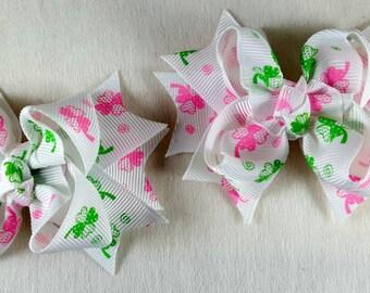 St Patricks Day Pink Clover Toddler Hair Bow Set