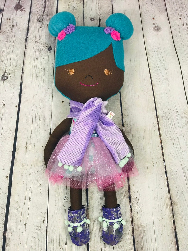 Hand Made Heirloom Afro Cloth Doll with Interchangeable image 0