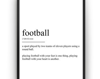 home decor wall art inspiring quote Football print gift picture poster