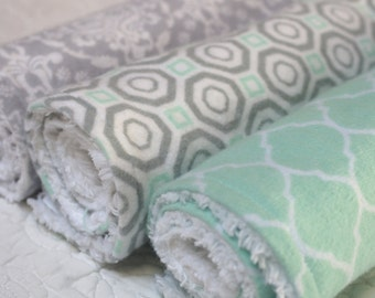 Set of 3 Baby Burp Cloths, Mint and Gray Neutral Patterns