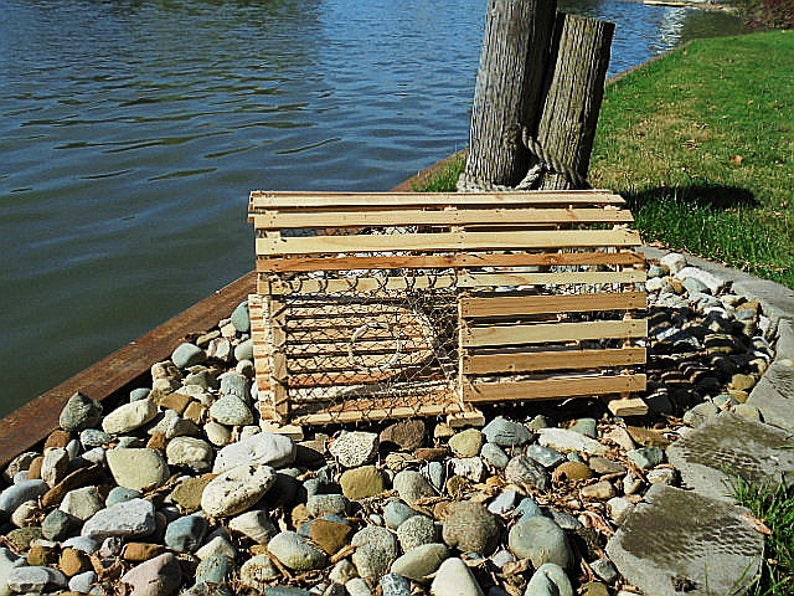 Wooden Cedar Lobster Trap Handmade Designed From Vintage Cage Nautical Theme Landscape Card Box Wood End Table Crab Trap With Slots