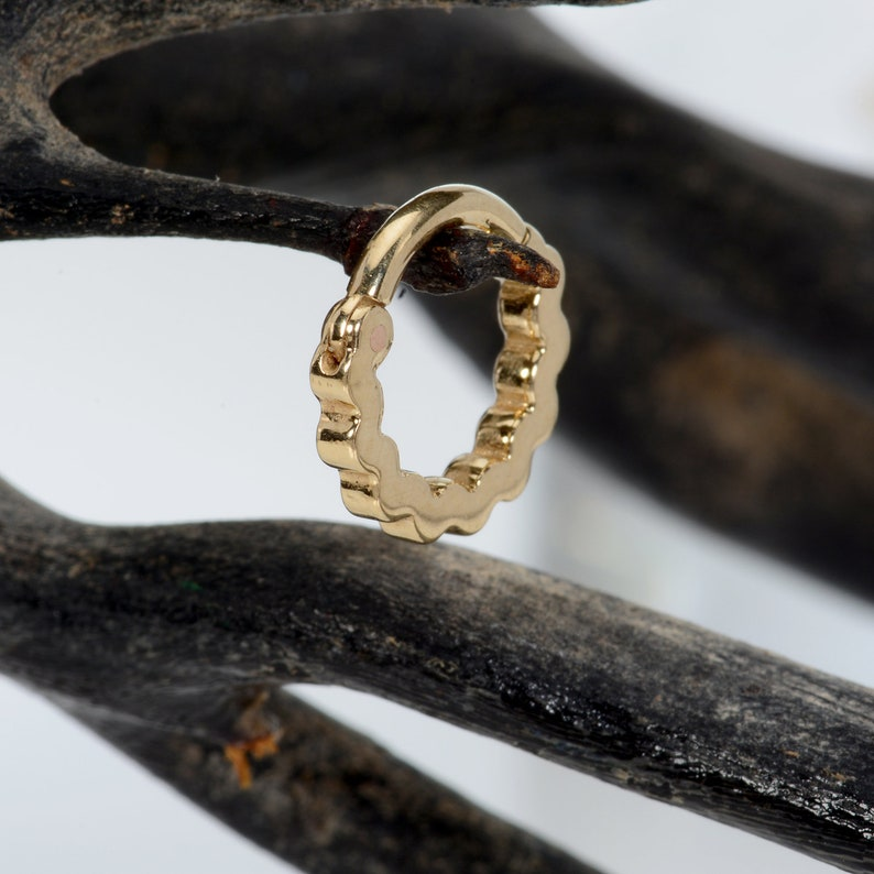 Clicker 14k piercing jewelry septum clicker septum jewelry Septum Clicker 14k nose hoop Nose Ring septum 14g daith piercing