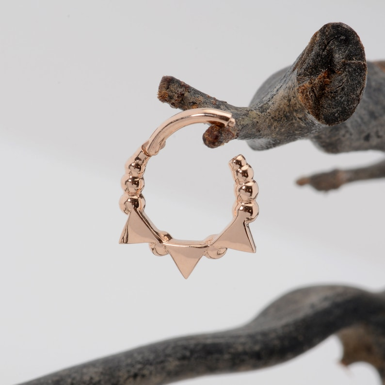 11f3f18997034 Conch Piercing 14k Solid Gold Septum Clicker - Septum Jewelry 18G - 16G -  14G - Daith Piercing - Helix Earring - Rose Gold Septum